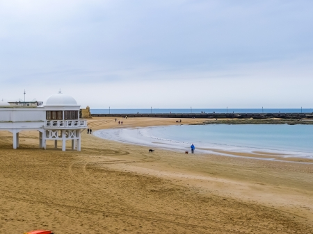 Caleta beach in Cadiz, winter day