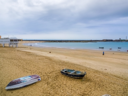 Caleta beach in Cadiz, winter day photo