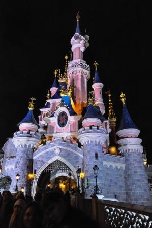 castles needle: PARIS,FEBRUARY 2011. Disneyland Paris Dream Castle, at night with artificial lighting Editorial