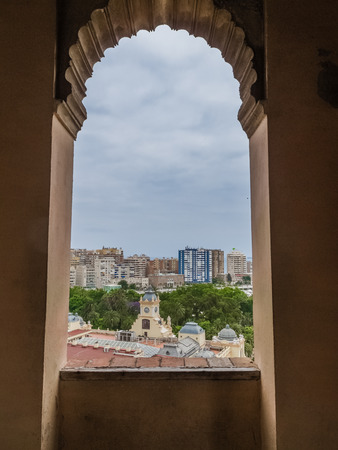 pila: Moorish arches in the Alcazaba of Malaga
