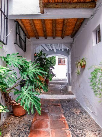 Calle de pueblo típico andaluz cubierto con techo de caña