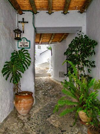 Alley in Frigiliana, access to street with housing.