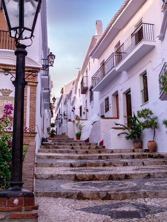 Street of Frigiliana, with cobblestone steps
