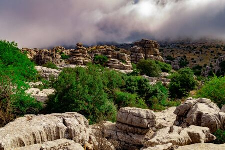 Karstic landscape in a unique area of Antequera, with remote sites of difficult access. Stock fotó