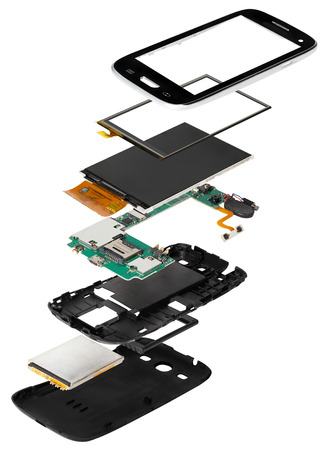 disassembled: isometry disassembled smartphone