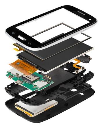bateria: teléfono inteligente desmontado Foto de archivo