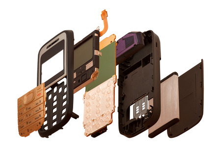 disassembled: Isometry  The disassembled mobile phone isolated on a white background