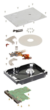 disassembled hard disk on a white background photo