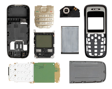 disassembled: disassembled mobile phone on a white background Stock Photo