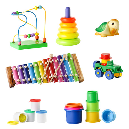 collection of toys for young children isolated on white background photo