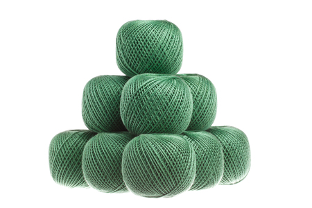 hank: Pyramid of yarn isolated on white background