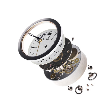 disassembled: disassembled the clock on a white background