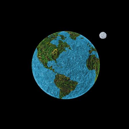 mapa conceptual: mundo abstracto sobre un fondo negro con la luna.