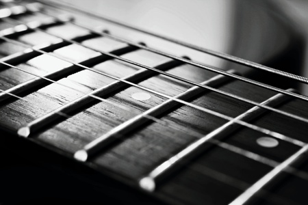 The endless strings of electric guitar Stock Photo - 27544403