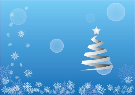 background motif: Christmas background motif with snowfalls and tree Illustration