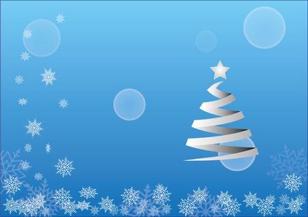 christmas motif: Christmas background motif with snowfalls and tree Illustration
