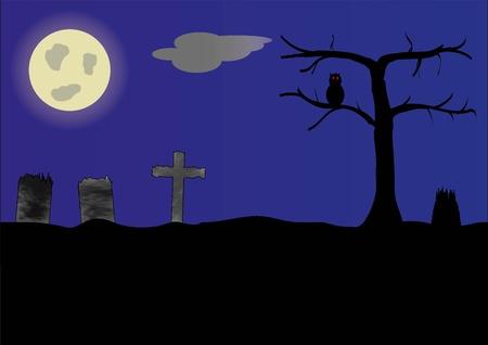 tombes: motif de cimeti�re avec la lune de lumi�re et tombes