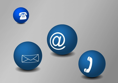 Blue balls on grey background with communication motifs Vector