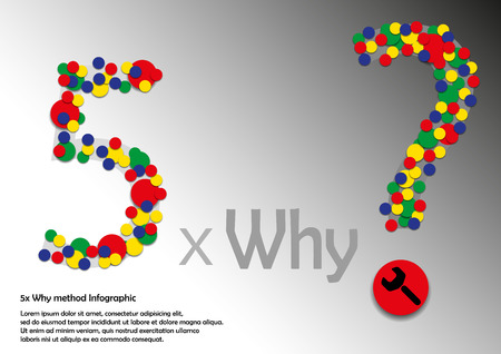 cause: 5x Why method Infographic with round color signs Stock Photo