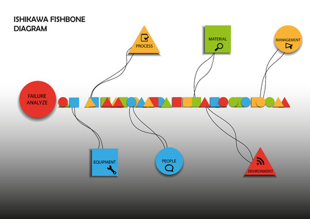 illustration of black fishbone: Fishbone diagram consists of geometric symbols on background