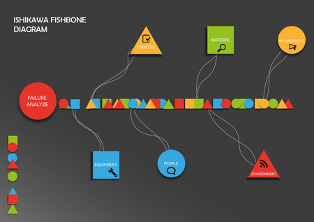 cause and effect: Fishbone diagram consists of geometric symbols on background