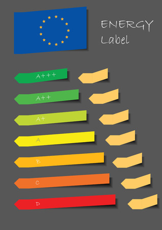 Energy label motif with color balls in line and EU flag and paper stickers Vector