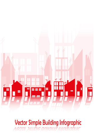 Simple infographic with shapes of buildings with doors and windows Vector