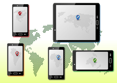 Infographic with smartphones and maps of world on each screen Vector