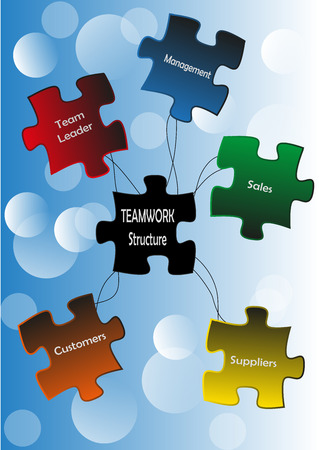 Puzzle pieces with teamwork member motifs and links photo