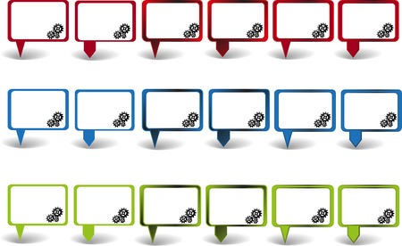 sprocket: Set of pointers in three colors with sprocket wheels symbols