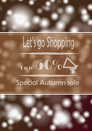 advertize: Poster with advertize for 50  autumn sale on braun background Stock Photo