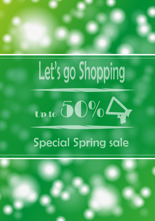 advertize: Poster with advertize for 50  spring sale on green background Stock Photo