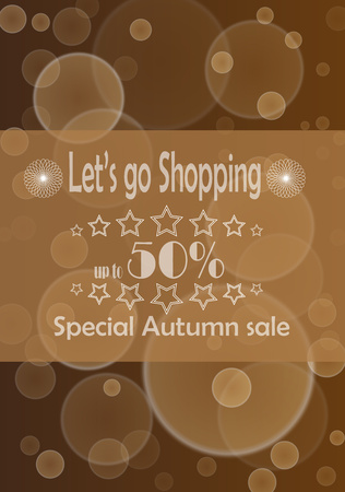 braun: Poster with advertize for 50  autumn sale on braun background Illustration