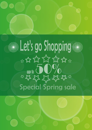 advertize: Poster with advertize for 50  spring sale on green background Illustration