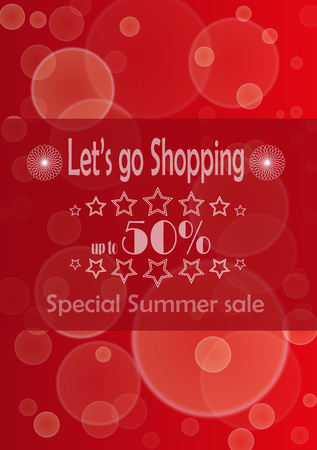 advertize: Poster with advertize for 50  summer sale on red background