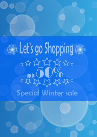 advertize: Poster with advertize for 50  winter sale on blue background