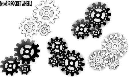 sprocket: Set of sprocket wheels with shadows on background Illustration