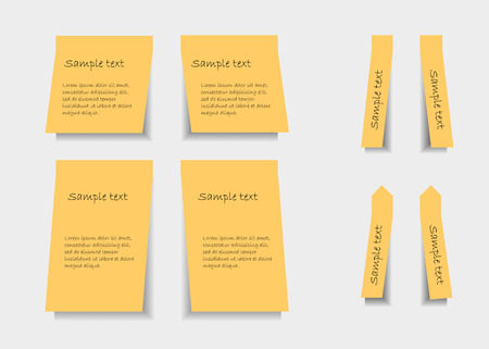 Set of yellow stickers with shadows on light background Vector