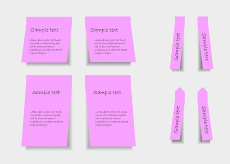Set of pink stickers with shadows on light background Vector