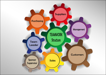 sprockets: Graphics with teamwork motif with colored sprockets Illustration