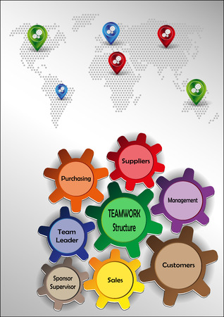 sprockets: Graphics with teamwork motif with colored sprockets world map and pointers