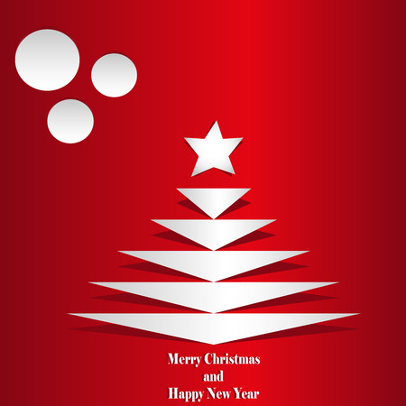 Cut christmas tree from paper card with star and balls Vector