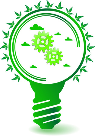 sprocket: Picture with motif of trees, bulb, clouds, sprocket wheels and leafs with eco idea