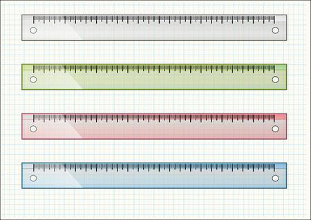 파란색 링크가있는 밝은 종이에 학교 눈금자의 집합
