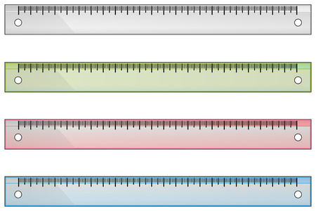millimeters: Set of school rulers on white clear background