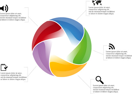 Circle infographic with five pentagon motif around with multiple colors and simple icons around Illustration