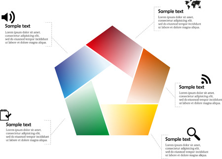 Vector illustration with pentagon infographic consists of five colors with separate signs and sympols in each part Vector