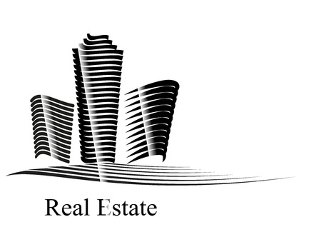 Vector illustration with Real Estate company motif created by line on white black background represents office skyscraper and buildings Illustration