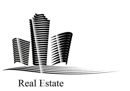 Vector illustratie met Real Estate bedrijf motief gecreëerd door de lijn op een witte zwarte achtergrond vertegenwoordigt kantoor wolkenkrabber en gebouwen Stock Illustratie