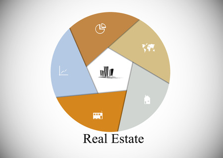 Infographic with hexagon shape consists of six parts and Real Estate motif in the middle with other signs and symbols on light background with shady corners Vector